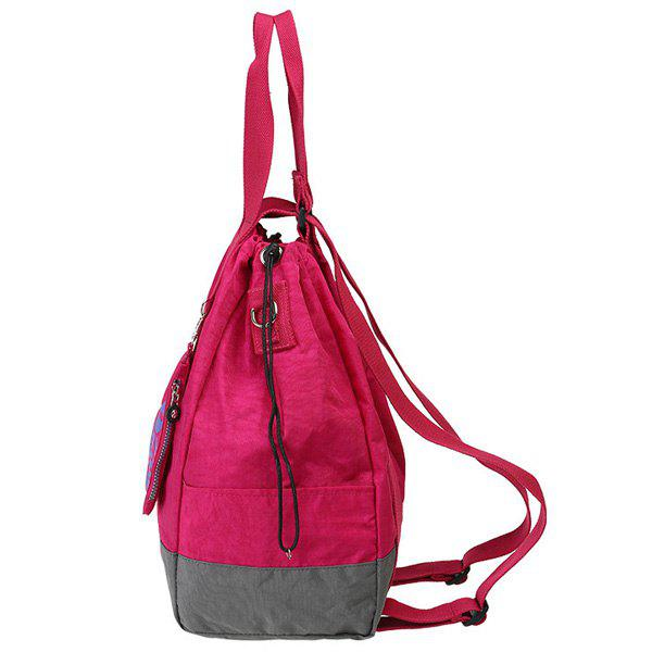 Simple Color Splicing and Drawstring Design Women's Backpack - ROSE MADDER