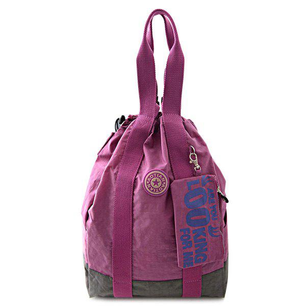 Simple Color Splicing and Drawstring Design Women's Backpack