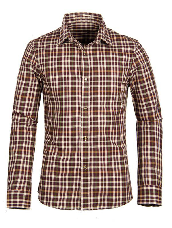 Gingham Turn-down Collar Men's Long Sleeve Shirt - WINE RED 2XL