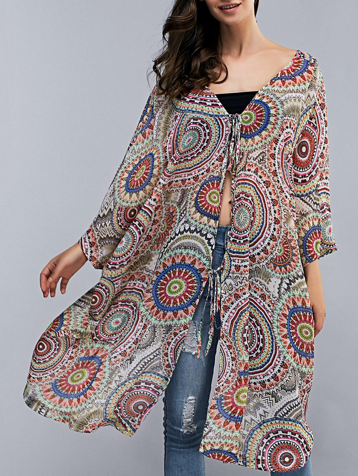 V Neck Batwing Sleeve Tribal Print Cover-Up - COLORMIX L