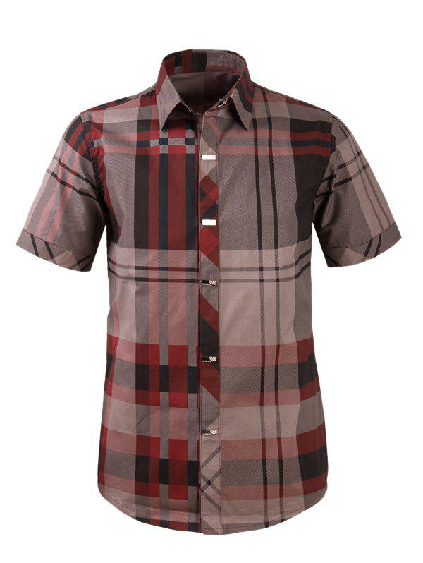 Plaid Snap Button Turn-down Collar Men's Short Sleeve Shirt - WINE RED 3XL