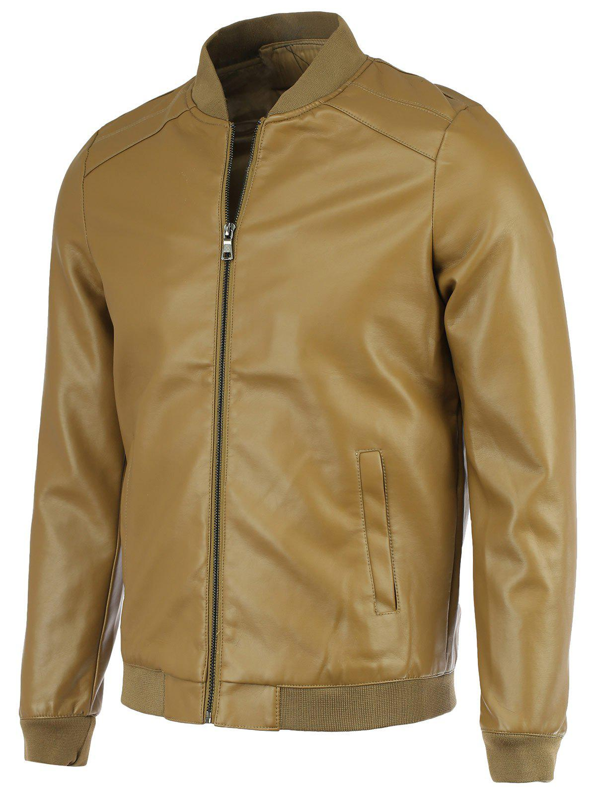 PU-Leather+Polyester Solid Color Stand Collar Long Sleeve Jacket - KHAKI 4XL