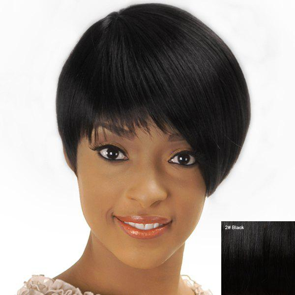 Women's Short Straight Full Bang Spiffy Human Hair Wig - BLACK