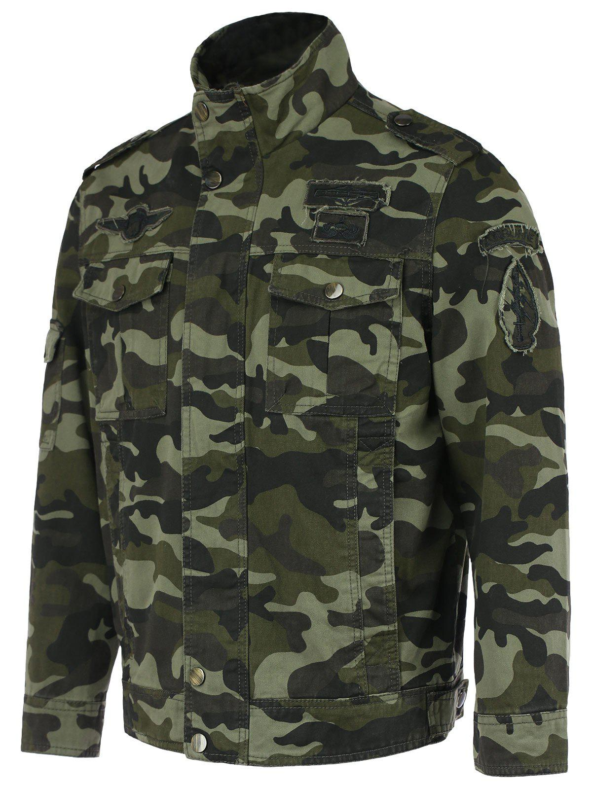 Buy Cotton Blends Camouflage Badge Stand Collar Long Sleeve Jacket ARMY GREEN