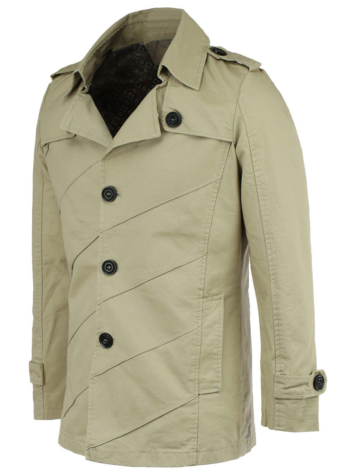 Cotton Blends Epaulet Trench Turn-Down Collar Coat