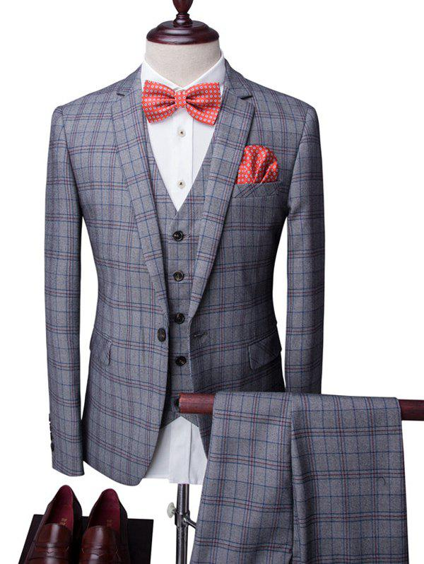 Plaid One-Button Lapel Long Sleeve Men's Three-Piece Suit ( Blazer + Waistcoat + Pants ) - GRAY 2XL
