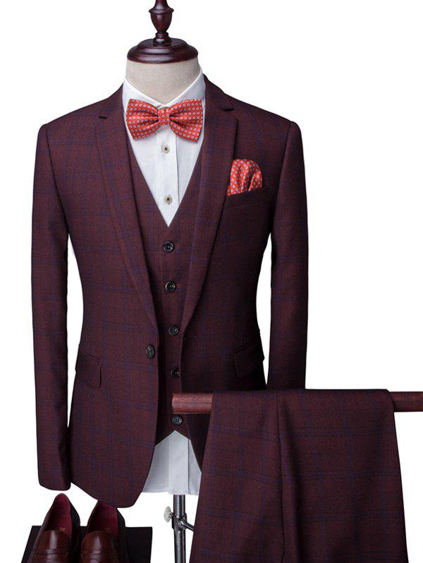 Plaid One-Button Lapel Long Sleeve Mens Three-Piece Suit ( Blazer + Waistcoat + Pants )Men<br><br><br>Size: L<br>Color: WINE RED