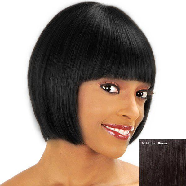 Women's Short Straight Full Bang Sweet Human Hair Wig - MEDIUM BROWN