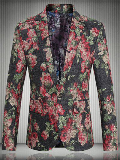 Floral Flap Pocket One-Button Lapel Long Sleeve Men's Blazer - RED 5XL