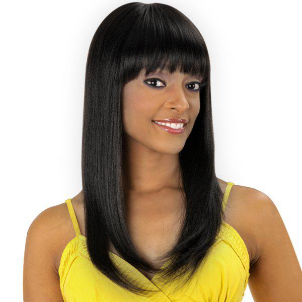 Women's Long Straight Tail Adduction Full Bang Sweet Human Hair Wig - JET BLACK