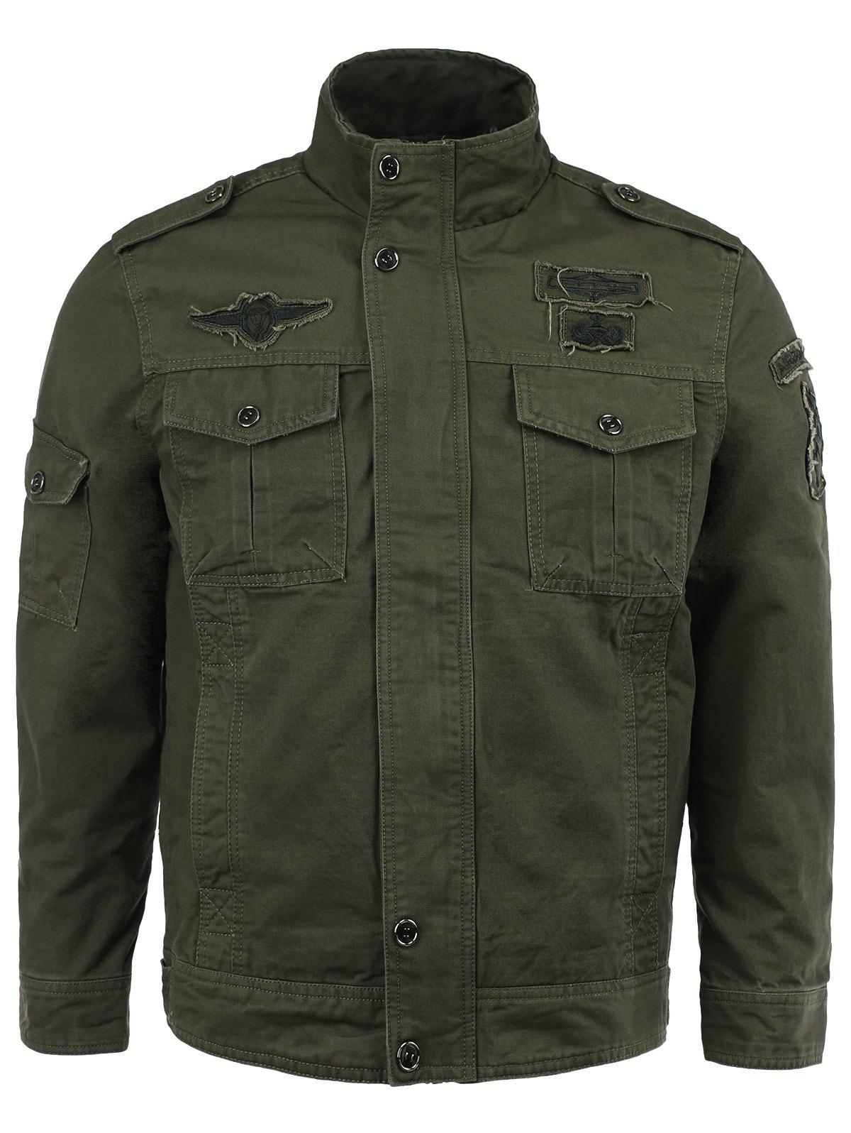 Cotton Blends Solid Color Badge Stand Collar Long Sleeve Jacket - ARMY GREEN 3XL