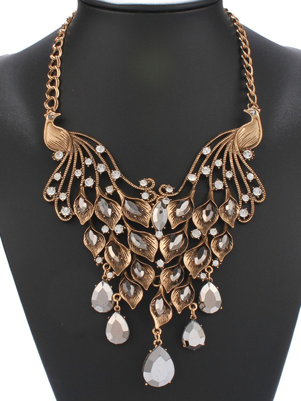 Vintage Faux Crystal Rhinestone Phoenix Calla Necklace - GOLDEN