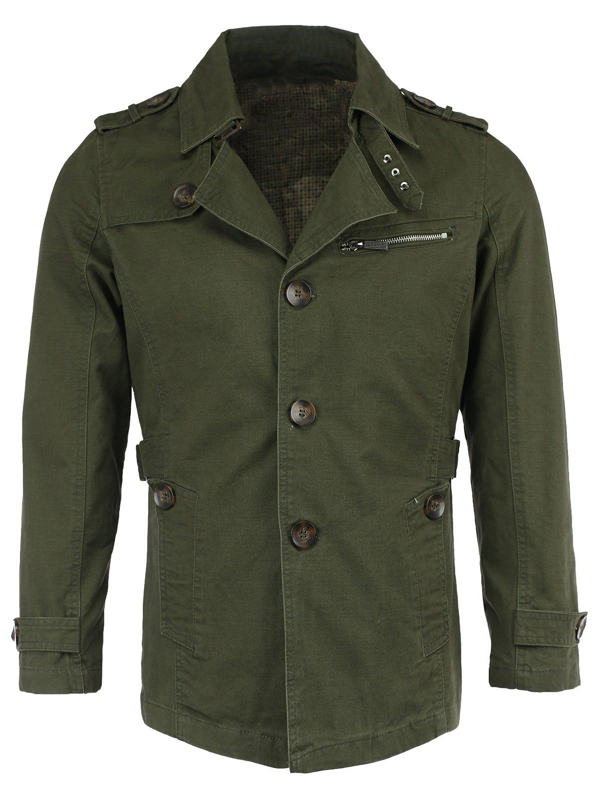 Buy Cotton Blends Epaulet Zipper Design Trench Turn-Down Collar Coat ARMY GREEN