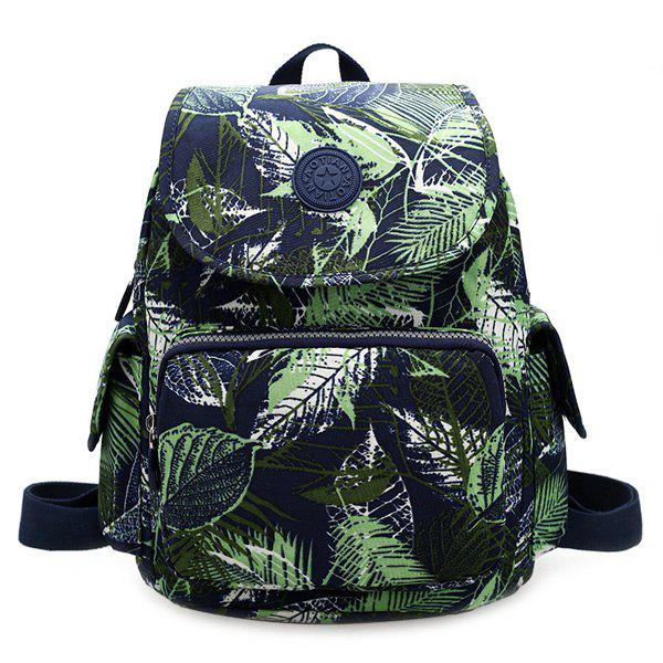 Stylish Color Block and Leaves Print Design Women's Backpack - GREEN
