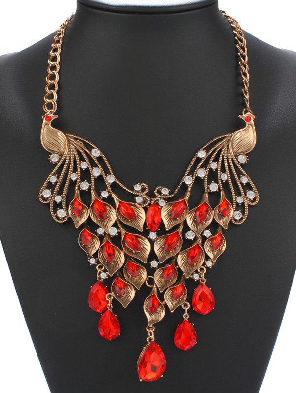 Vintage Faux Ruby Rhinestone Phoenix Necklace - RED