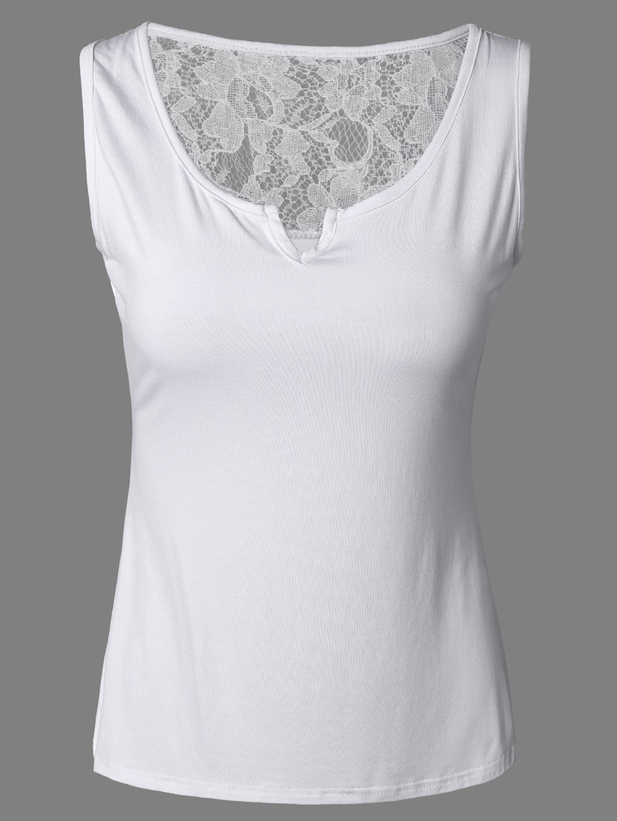Brief Pure Color Lace Tank Top For Women - WHITE XL