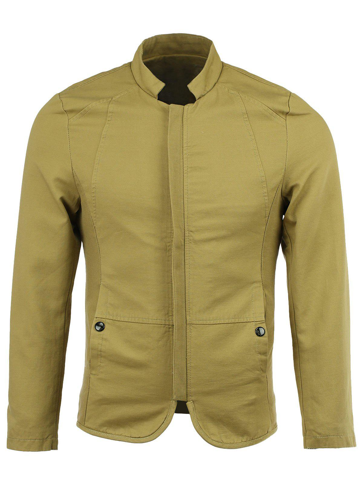 Cotton Blends Stand Collar Solid Color Long Sleeve Jacket - KHAKI 3XL