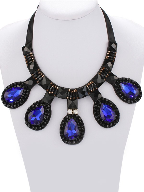 Vintage Faux Sapphire Water Drop Necklace For Women