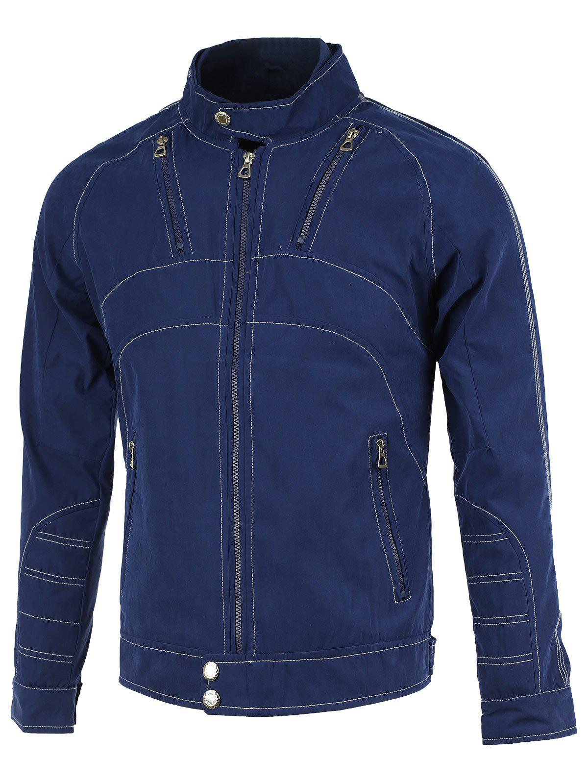 Cotton+Polyester Suture PU-Leather Embellished Stand Collar Long Sleeve Jacket - SAPPHIRE BLUE 3XL
