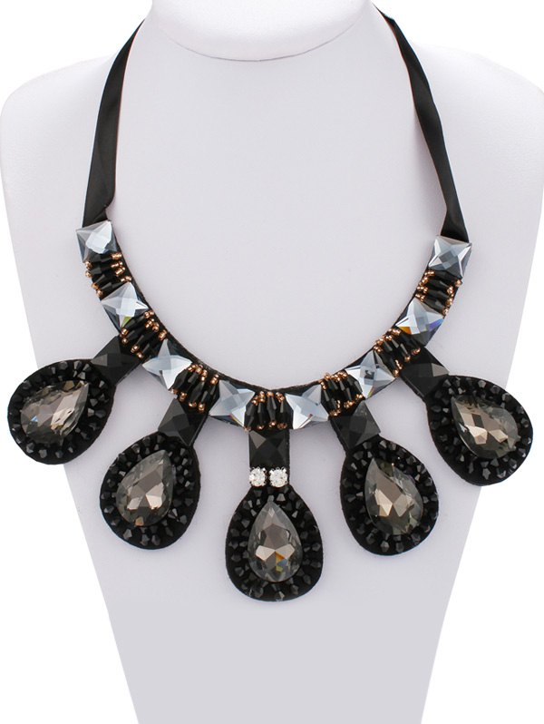 Vintage Faux Gem Teardrop Necklace For Women