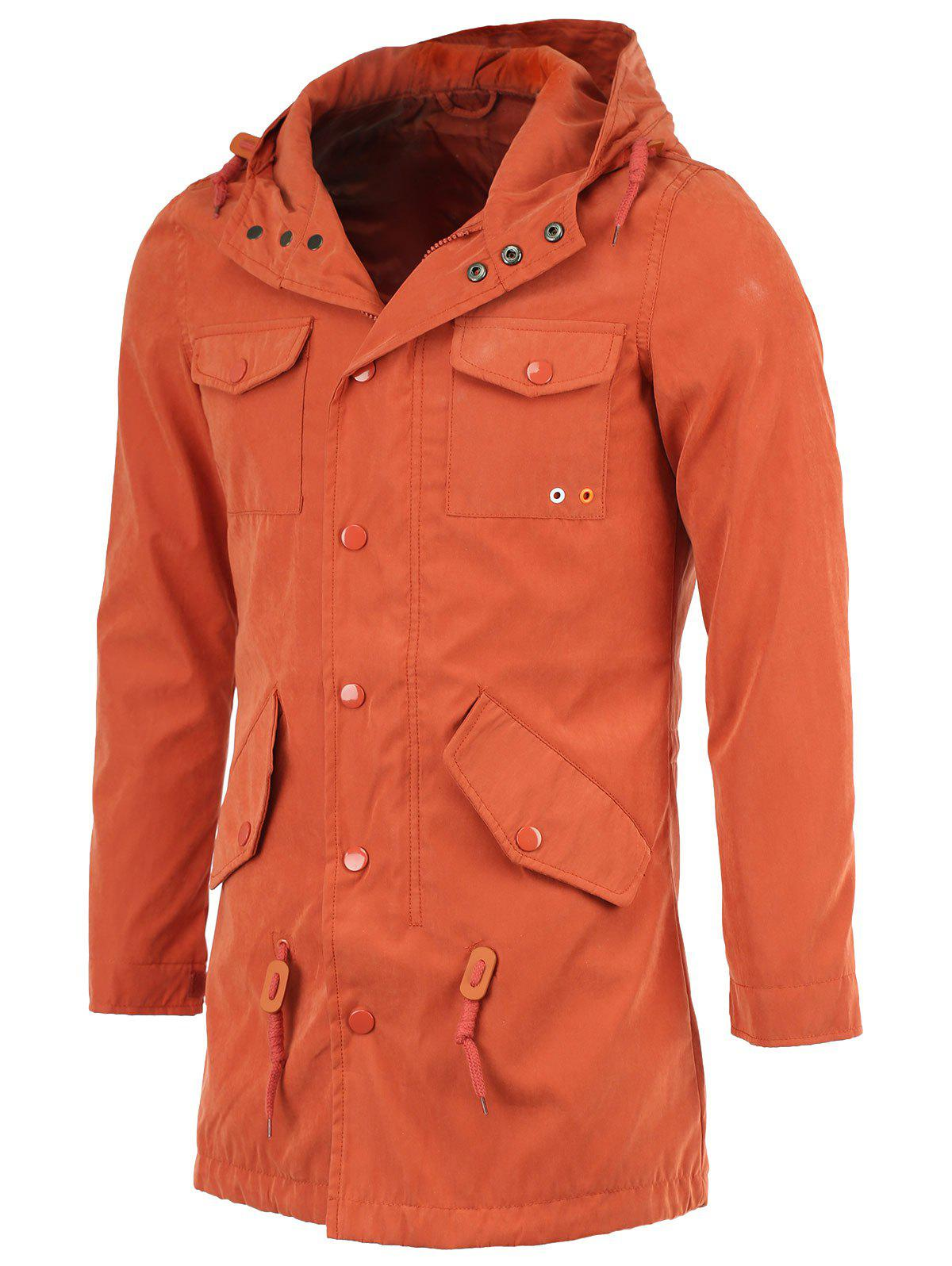 Polyester Hooded Pockets Design Long Sleeve Coat - BRICK RED 2XL