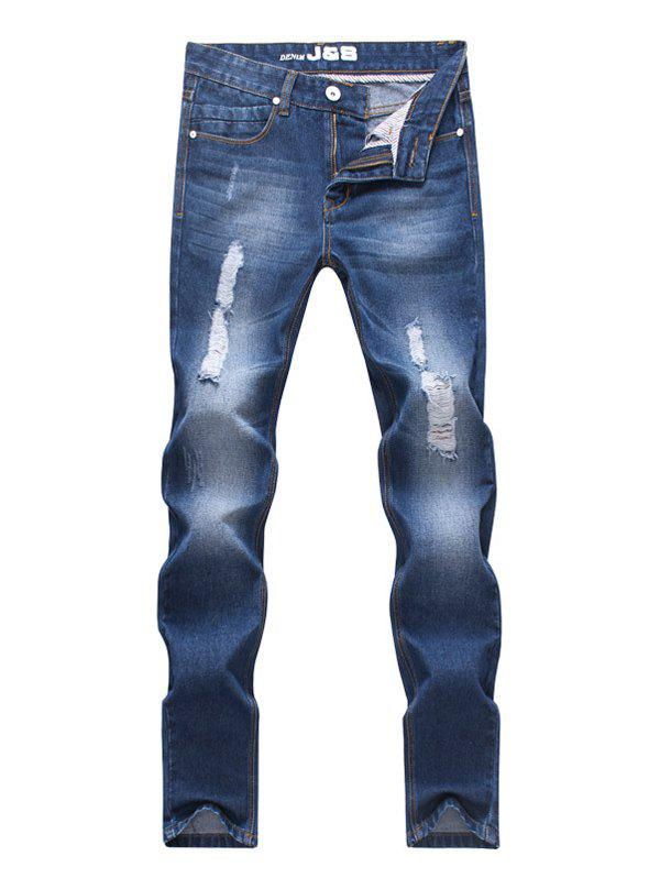 Straight Leg Zipper Fly Scratch Men's Ripped Jeans - BLUE 38