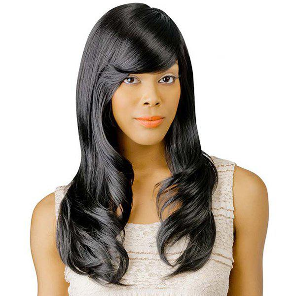 Women's Long Adduction Side Bang Fashion Human Hair Wig - JET BLACK