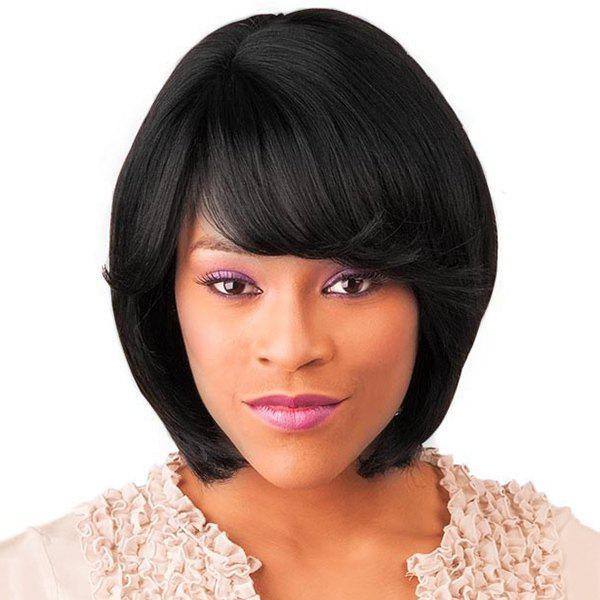 Women\'s Short Straight Side Bang Faddish Human Hair Wig - JET BLACK