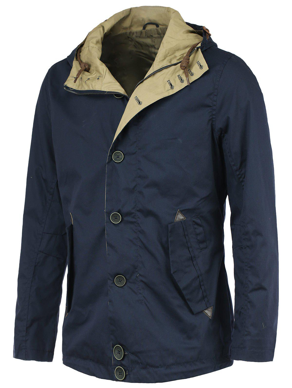 Polyester Hooded Solid Color Long Sleeve Coat - DEEP BLUE 3XL