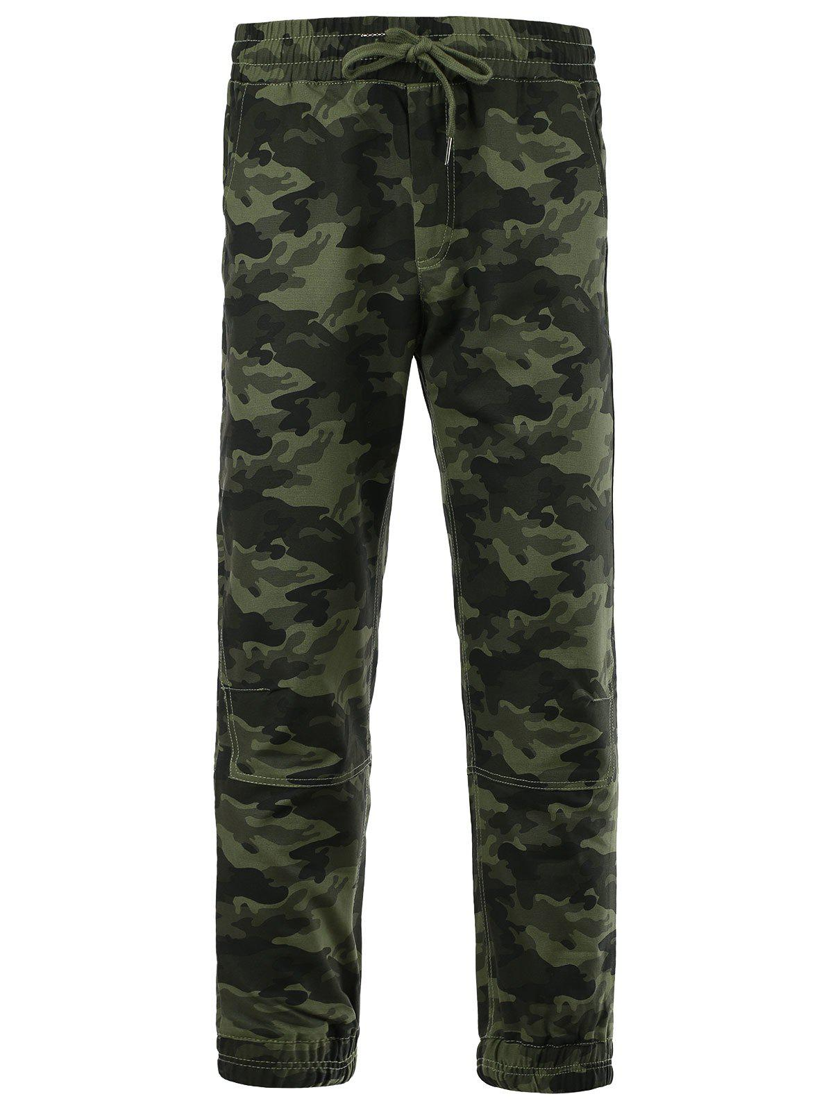 Cotton Blends Camouflage Beam Feet Lace-Up Pants