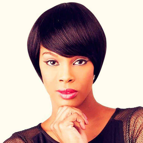 Women's Short Straight Side Bang Handsome Human Hair Wig
