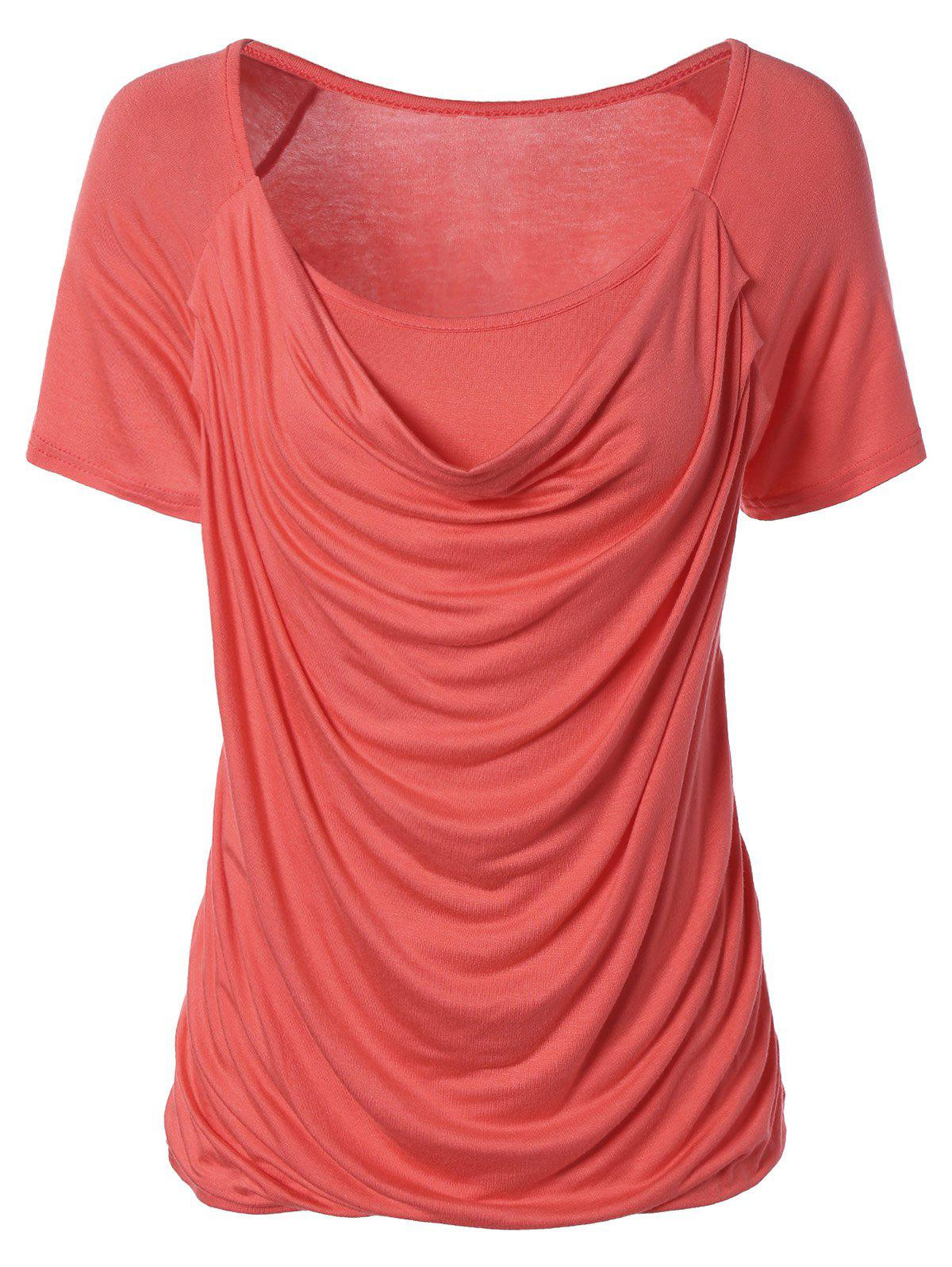 Stylish Pure Color Ruffled T-Shirt For Women - WATERMELON RED XL