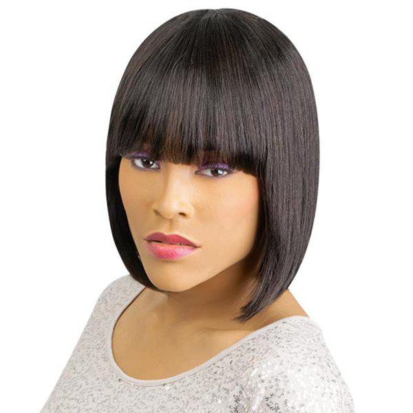 Women's Short Straight Full Bang Sophisticated Human Hair Wig