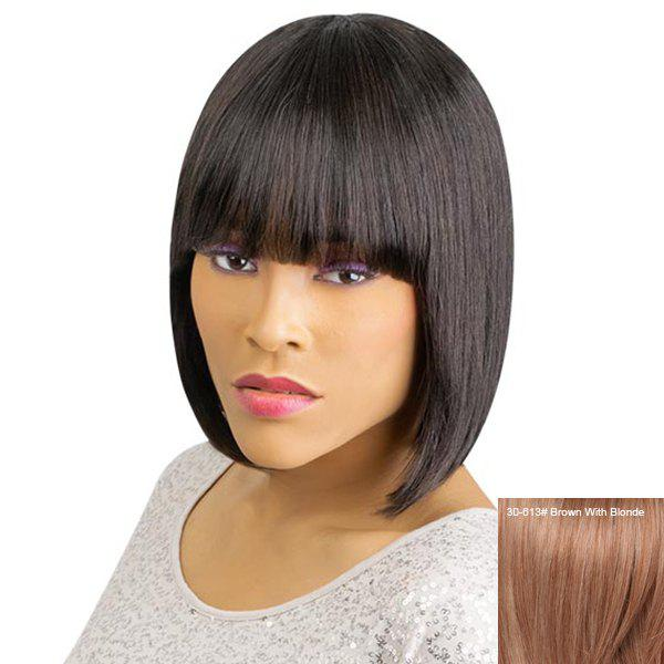 Women's Short Straight Full Bang Sophisticated Human Hair Wig - BROWN/BLONDE