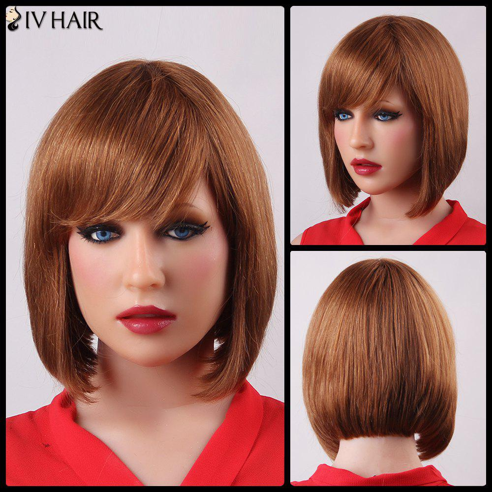 Elegant Short Side Bang Siv Hair Bob Style Straight Capless Human Hair For Women