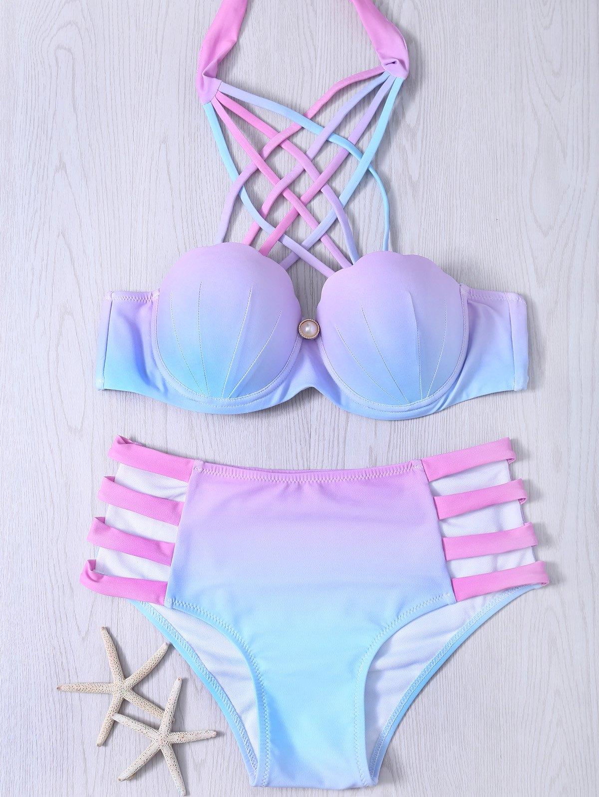 Alluring Lace-Up Hollow Out Gradient Bikini Set