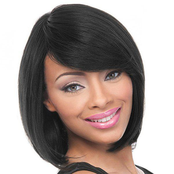 Women's Short Straight Side Bang Charming Human Hair Wig - JET BLACK