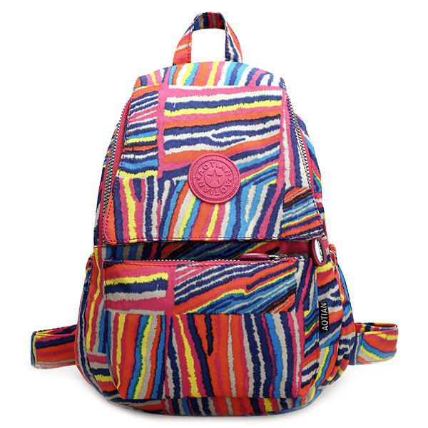 Trendy Nylon and Rainbow Color Design Women's Satchel - COLORMIX