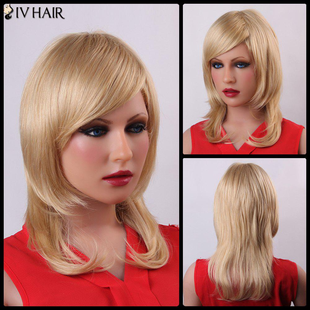 Fluffy Natural Wave Human Hair Vogue Long Layered Siv Hair Capless Wig For Women - GOLDEN BROWN/BLONDE