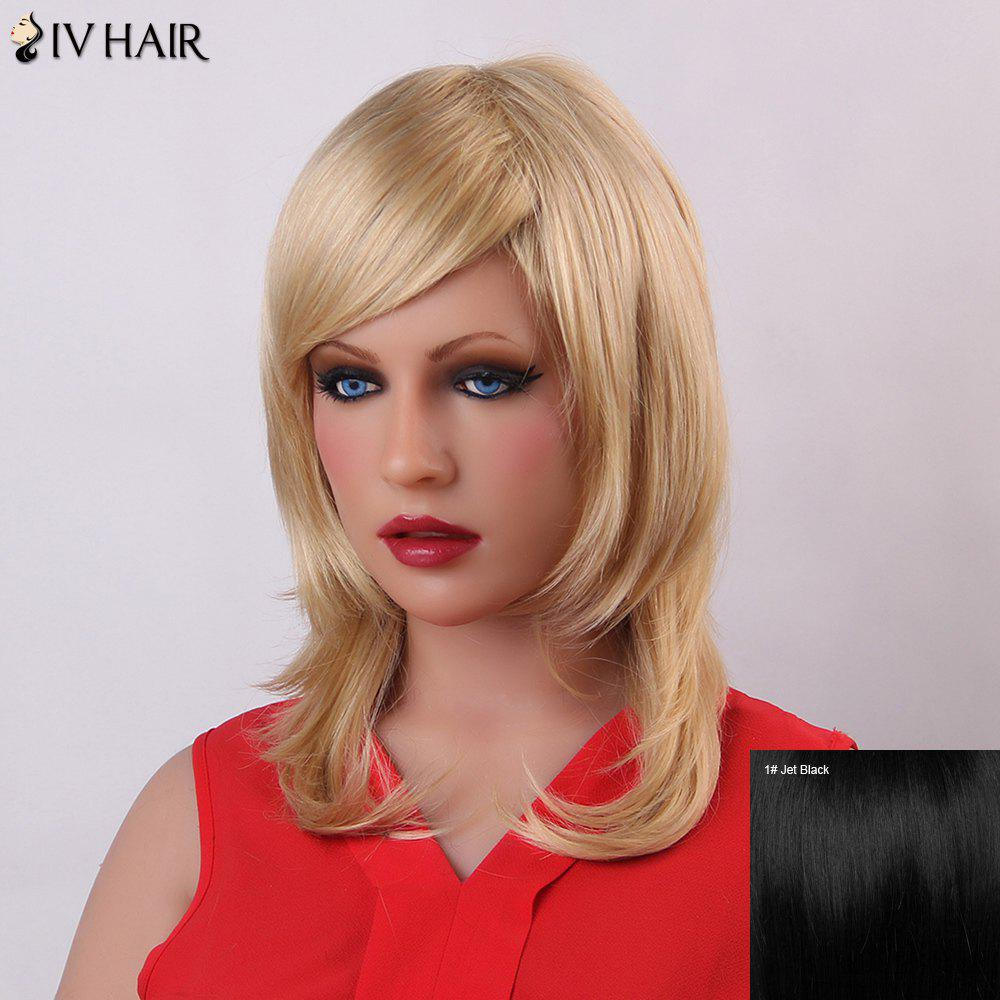 Fluffy Natural Wave Human Hair Vogue Long Layered Siv Hair Capless Wig For WomenHair<br><br><br>Color: JET BLACK