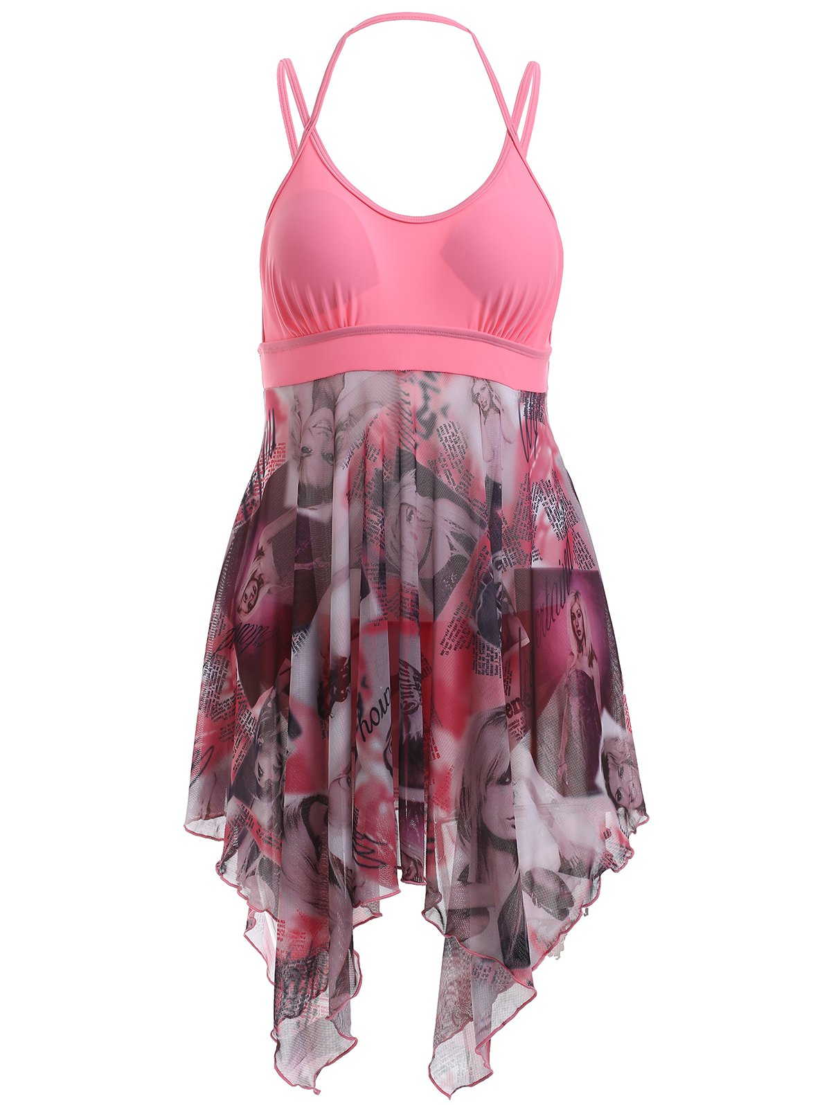 Alluring Spaghetti Strap Beauty Print High Low One-Piece Swimsuit - PINK 2XL