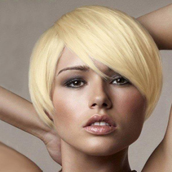Women's Short Straight Side Bang Fashion Human Hair Wig - GOLDEN BROWN/BLONDE