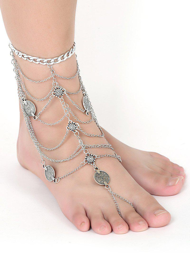 Coin Layered Fringe Anklet - SILVER