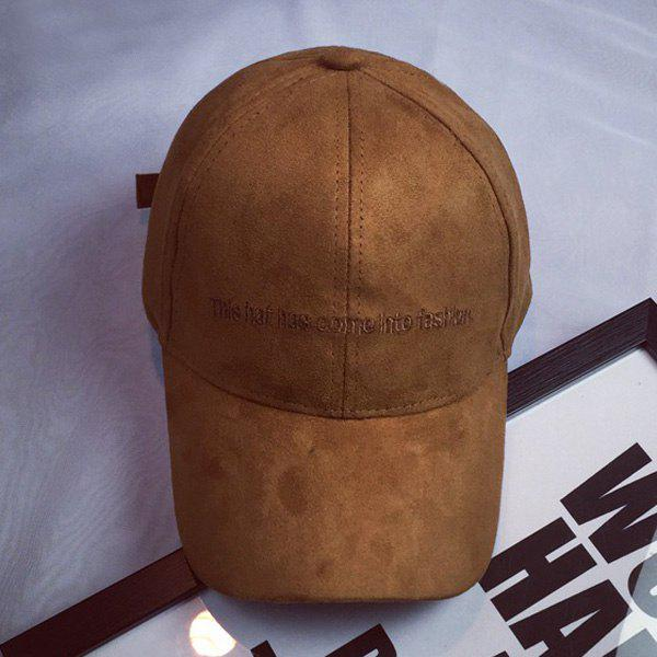 Hot Sale Letters Embroidery College Style Faux Suede Women's Baseball Hat - CAMEL