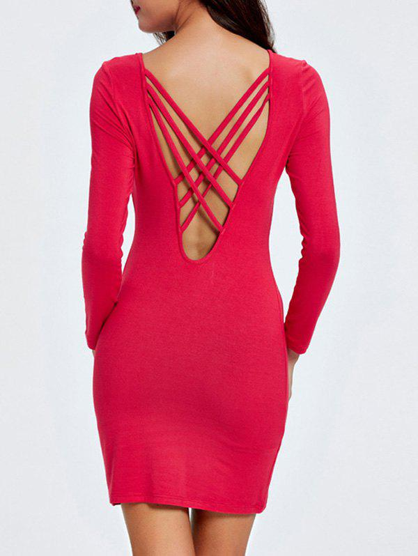 Casual Solid Color Open Back Dress For WomenWomen<br><br><br>Size: M<br>Color: RED