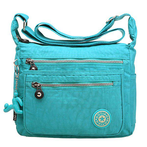 Casual Zippers and Nylon Design Women's Shoulder Bag - LAKE BLUE