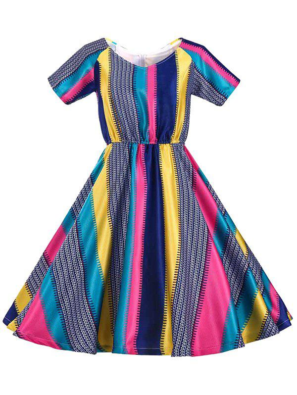 Retro Women's Colored Striped Flare Dress - COLORFUL 2XL