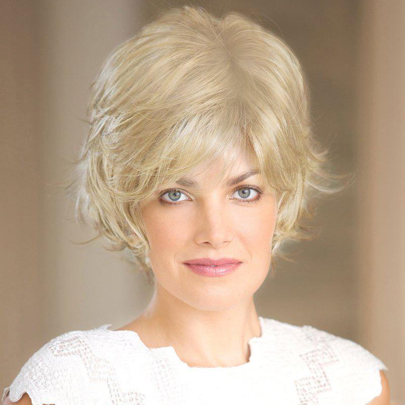 Women's Short Fluffy Curly Side Parting Fashion Human Hair Wig - BLONDE