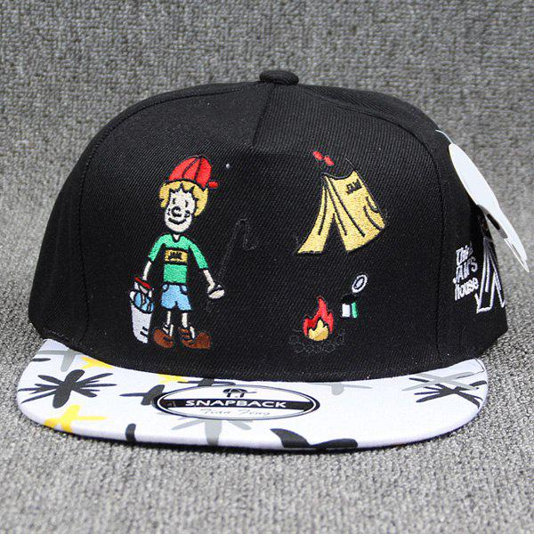 Hot Sale Clown Embroidery Street Fashion Doodle Women's Baseball Hat - BLACK