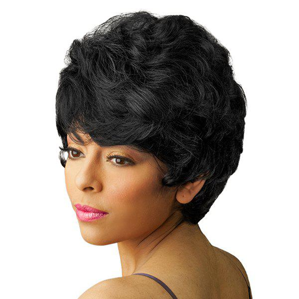 Women's Short Fluffy Curly Side Bang Fashion Human Hair Wig - JET BLACK